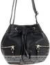 Pierre Cardin leather drawstring handbag PC1870 BLACK